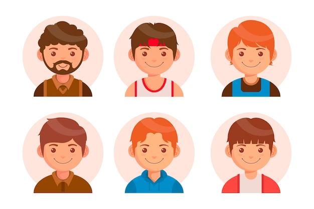 Collection d'icônes de profil design plat créatif