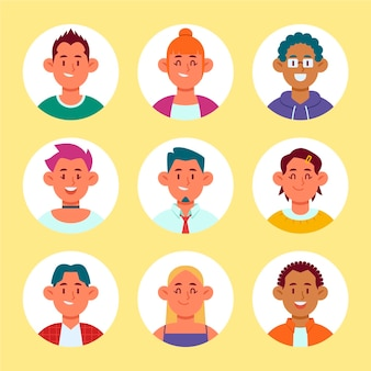 Collection d'icônes de profil dessinés à la main