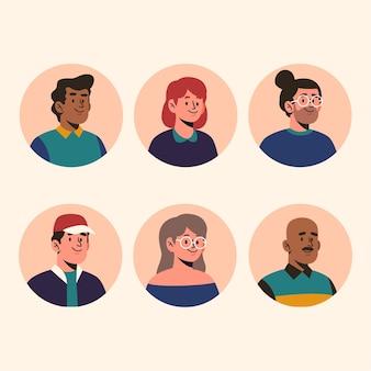 Collection d'icônes de profil plat dessinés à la main