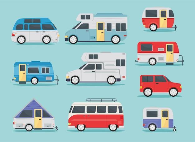 Collection d'icônes de remorque de camping-car
