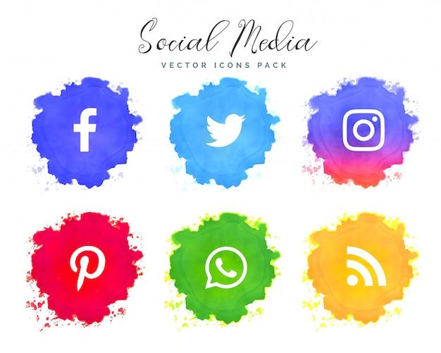 Collection d'icônes de réseau de médias sociaux aquarelle
