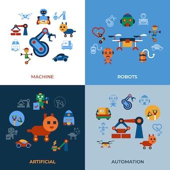 Collection d'icônes de robots automatisation et intelligence artificielle