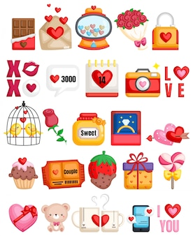 Collection d'icônes romantiques