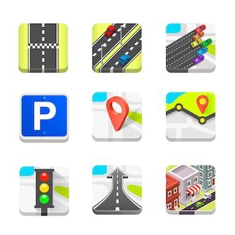 Collection d'icônes de la route définie l'art. illustration vectorielle