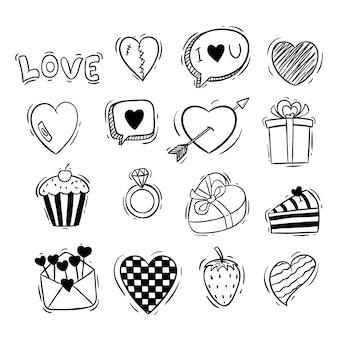 Collection d'icônes de saint-valentin noir et blanc avec style dessiné ou doodle à la main