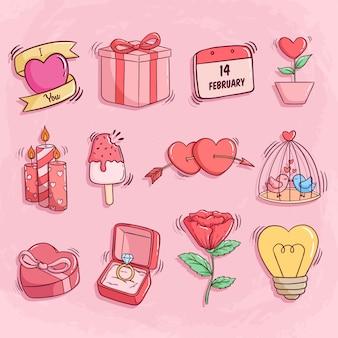 Collection d'icônes de saint valentin avec style doodle coloré