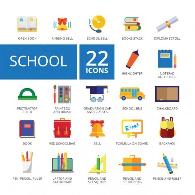 Collection d'icônes scolaires