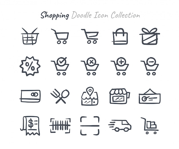 Collection d'icônes de shopping doodle