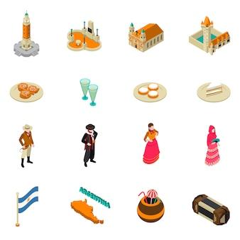 Collection d'icônes de symboles isométriques touristiques argentins