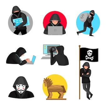 Collection d'icônes de symboles de personnages de pirates