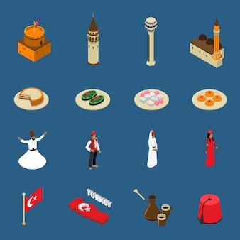 Collection d'icônes de symboles touristiques isométriques turquie
