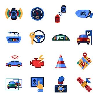 Collection d'icônes de système de détection de stationnement et de stationnement assisté
