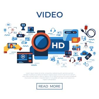 Collection d'icônes de technologie de streaming vidéo en ligne à la demande