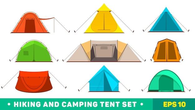 Collection d'icônes de tente de camping multicolores
