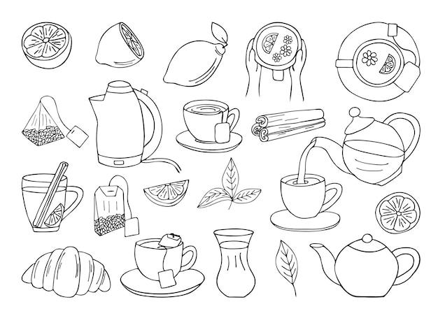 Collection d'icônes de thé dessinés à la main. collection d'icônes de thé doodle.