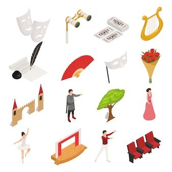 Collection d'icônes de théâtre isométrique