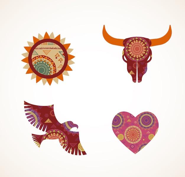 Collection d'icônes tribales bohème à motifs