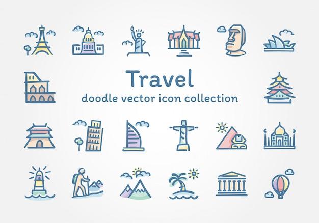 Collection d'icônes de vecteur voyage doodle