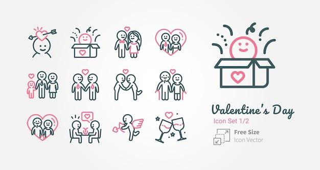 Collection d'icônes vectorielles valentin avec contour