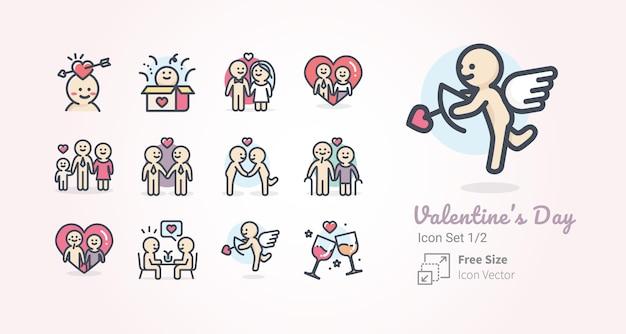 Collection d'icônes vectorielles valentin