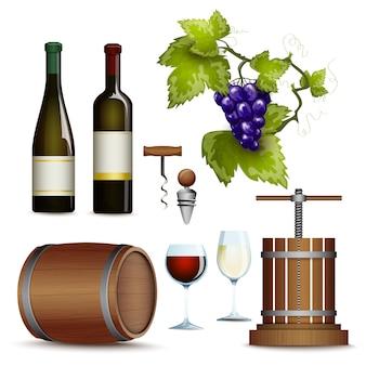 Collection d'icônes de vin à plat