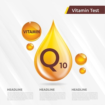 Collection d'icônes de vitamine q10 illustration vectorielle goutte d'or