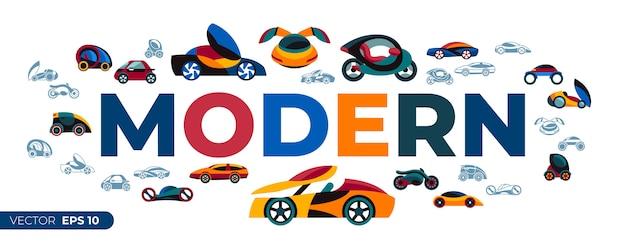 Collection d'icônes de voiture future concept
