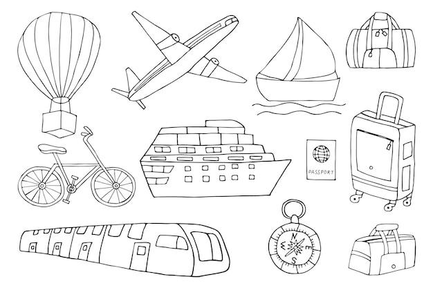 Collection d'icônes de voyage doodle en vecteur. doodle icônes de voyage définies dans le vecteur