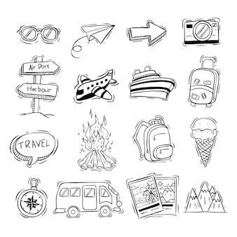 Collection d'icônes de voyage noir et blanc avec style doodle