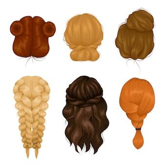 Collection d'icônes de vue arrière de coiffure femme