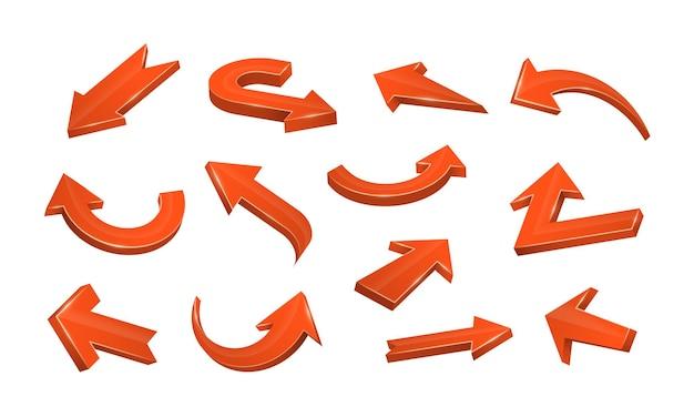 Collection d'icônes web de flèches en zigzag droites incurvées icônes de curseur ou de direction