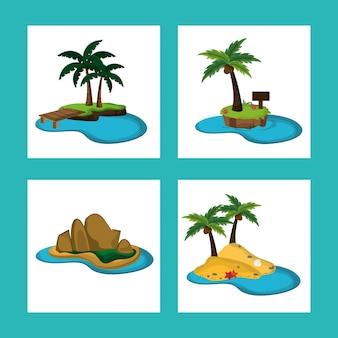 Collection île paradisiaque océan naturel