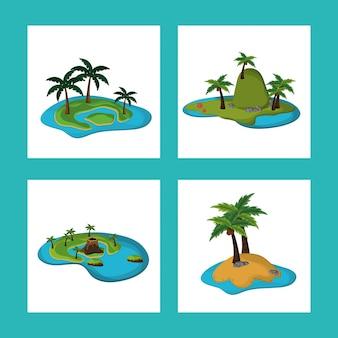 Collection île paradisiaque tropical caraïbes