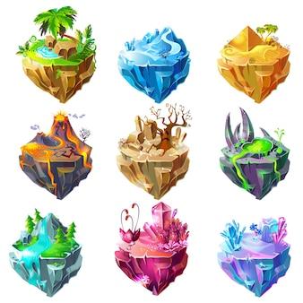 Collection d'îles de jeu isométrique