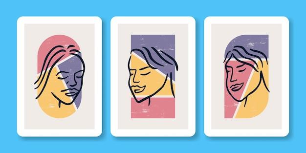 Collection d'illustration d'affiche de portrait de visage de sourire de femme