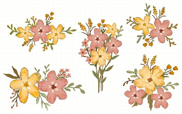 Collection d'illustration à l'aquarelle d'arrangement de décoration de fleurs roses et jaunes