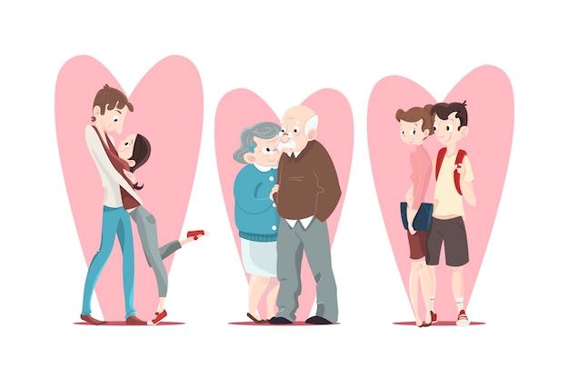 Collection d'illustration couple saint valentin