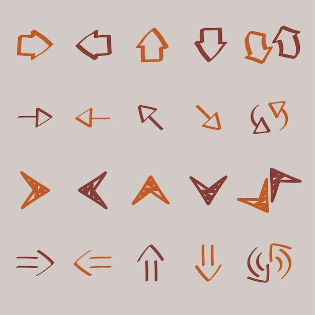 Collection d'illustration de doodles de flèche