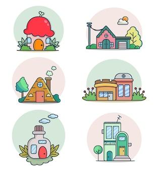 Collection d'illustration d'icône de vecteur de construction de maison