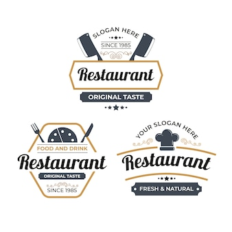 Collection d'illustration de logo de restaurant rétro