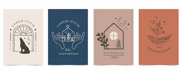 Collection d'illustration de maison, animal et main