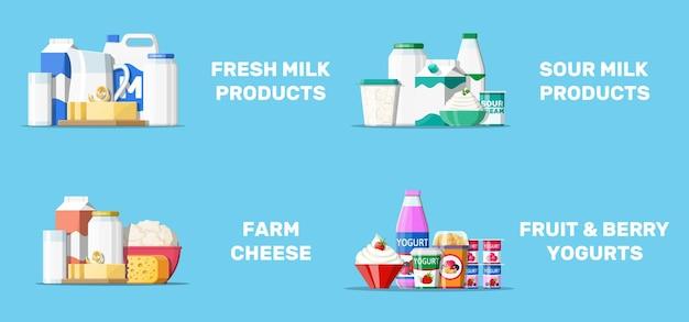 Collection d'illustration de nourriture laitière