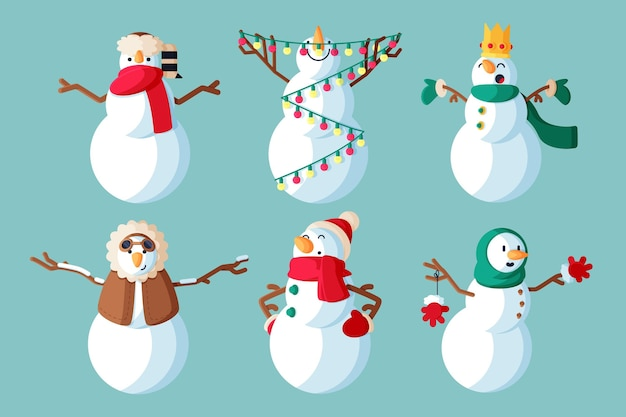 Collection d'illustration de personnage de bonhomme de neige design plat