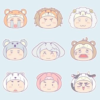 Collection d'illustration de personnage de costume animal kawaii dessinés à la main.