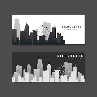 Collection d'illustration silhouette skyline