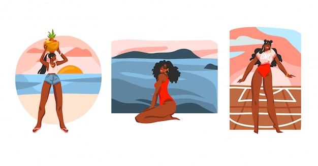 Collection d'illustration stock abstraite dessinés à la main sertie de jeunes femmes de beauté heureuse, dans le créateur de scènes de routine quotidienne sur fond blanc