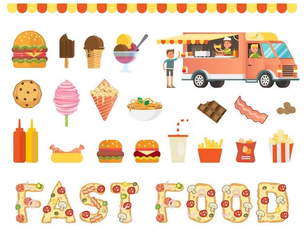 Collection d'illustration vectorielle de restauration rapide avec camion de nourriture