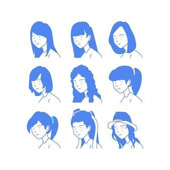 Collection d'illustration vectorielle style femme visage