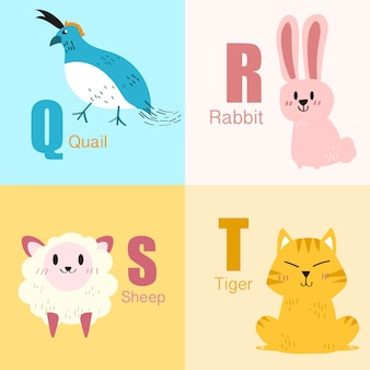 Collection d'illustrations alphabet animaux q to t.