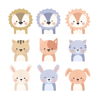 Collection d'illustrations d'animaux adorables